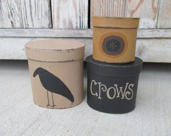 Primitive Crow and Sunflower Hand Painted Set of 3 Oval Stack Boxes GCC4943