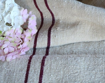 E 433: antique grain sack 리넨 AUBERGINE RED 45.67long,holiday feeling pillow cushion, decoration, french lin tablerunner, upholstery