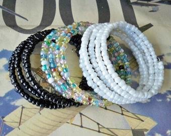 Set of 3 Seed Bead Wrap Bracelets - Many ways to wear - Iridescent - White, Multi and Black beads - Boho chic - Bohemian jewelry - bycat
