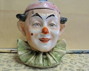 Vintage Majolica Clown Tobacco Jar, Tobacco Humidor