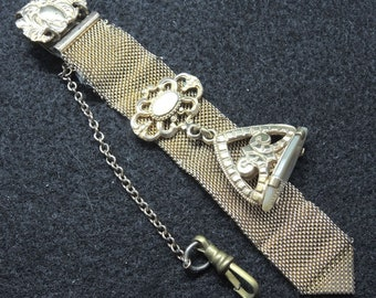 Gold Mesh Watch Chain And Fob, Mother Of Pearl Fob, Victorian Men's Jewelry, Victorian Watch Fob And Chain, Steampunk
