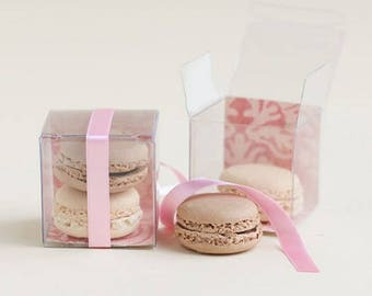 10 Clear Favor Boxes, Clear Macaron Boxes, Macaron Favor Box, Clear Gift Boxes . 2x2x2