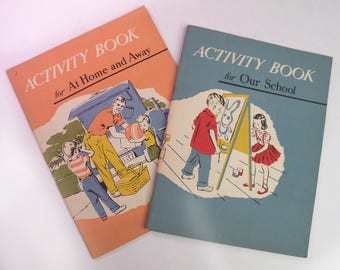 Pair of Very Good Condition Vintage 1957 Child's Activity Books along the lines of Dick and Jane type activity book 50's fifties antique