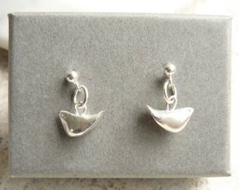 Tiny Bird Earrings, Sterling Silver, Free UK Shipping