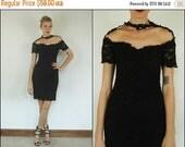 FLASH SALE Vintage 80s 90s Floral lace Bandage Party Cocktail Black Cut out Bodycon Mini dress S