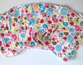 7 Reusable Cloth Wipes  - Birds with Hearts  print double layered cotton flannel