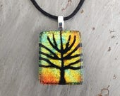 Tree of Life Etching on Sunrise Dichroic Glass