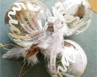 Glass Christmas ornaments / Christmas decorations - Personalized glass feather filled ornaments (set of 3)