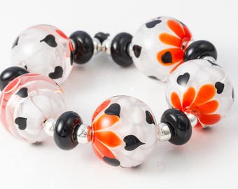Dahlia Heart Lampwork Bead Set