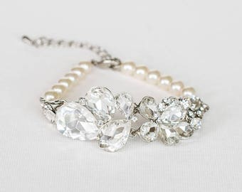 Wedding Bracelet, Crystal Bracelet, Bridal Bracelet, Wedding Pearl Bracelet
