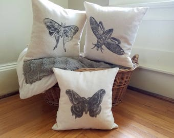 free shipping / set of 3 spring pillows / butterfly / butterflies / moth / moths / home decor / gray / linen / set of three /
