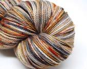 "Acoustic Sock Yarn - ""Cinder and Smoke"" - Handpainted Superwash Merino - 400 Yards"