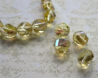 Citrine faceted Czech glass beads nuggets 10mm