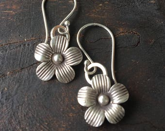Flower Fine Silver Drop Earrings- Hill Tribe Silver- Dangle Earrings- Rustic