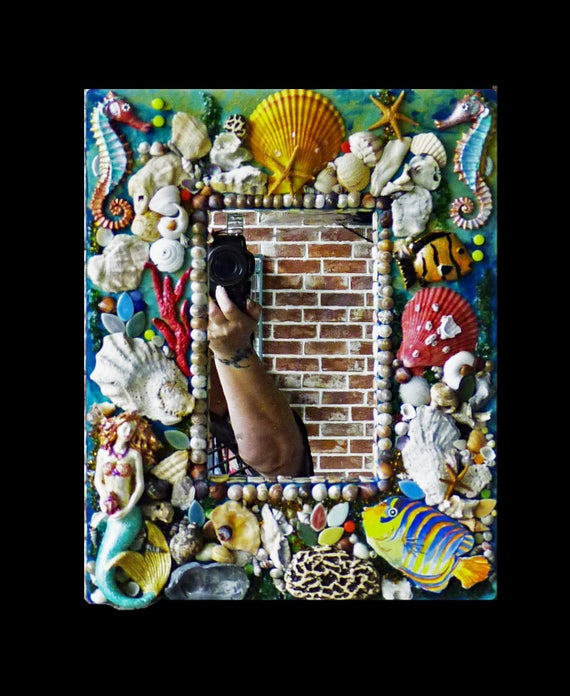Mosaic Sea Shell Mirror, Mosaic Beach Mirror, Mosaic Mermaid Mirror or Frame Ready to Ship
