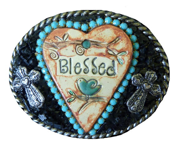 Western Heart Christian Belt Buckle with Rhinestones and Tourmaline Gemstones