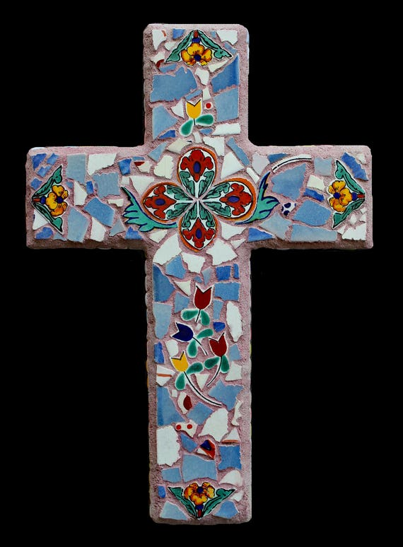 Rustic Mosaic Mexican Tile Cross Made with Talavera Tiles