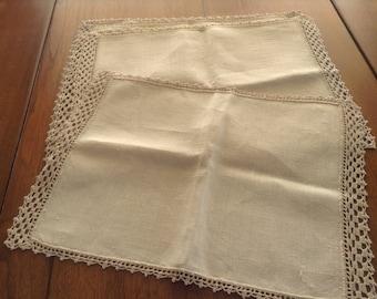 6 Slubby Linen Ecru Placemats, Lace Crochet Trim, Lacy Crochet Trim