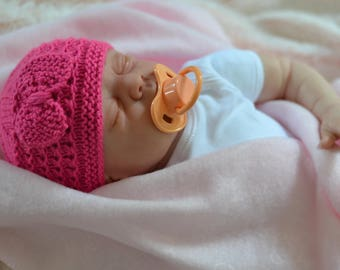 Newborn Bow Beanie Hat, Knitted Hat, Reborns Dolls Hat, Doll Hat, Baby Shower Gift, Uk Hat, Pick Your Colour