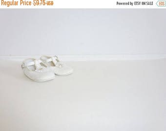 SALE // Vintage White T-Strap Baby Shoes