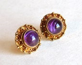 Vintage to Antique Sterling Silver and Amethyst Studs - Gold-Washed Vermeil Filigree - Ornate Post Pierced Earrings - Purple Cabochons