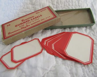 """Vintage Dennison Gummed Labels 2 1/2"""" x 1 1/2"""" red and off white 35 plus in box"""