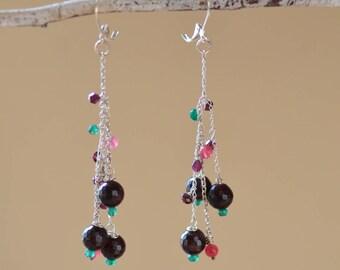 Garnet Cascade Earrings. Sterling Silver Earrings.  Cabernet Color.  Natural Garnet Gemstone Jewelry. Statement Jewelry.