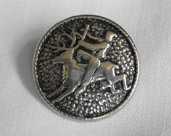 Norwegian Pewter Sweater Button with Reindeer