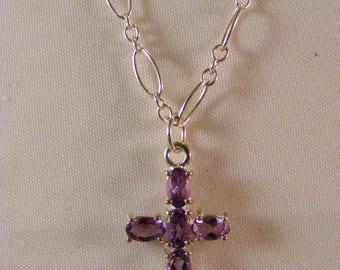 Sterling Silver Amythest Cross Necklace