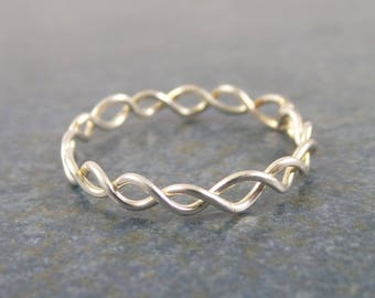 Simple twist ring, stackable, sterling silver, band