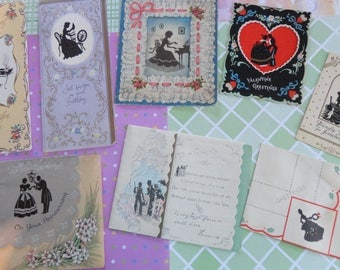 Silhouettes at their Loveliest Men and Women Spinning Wheels to Harpsicord in Vintage All Occasion Lot No 262 Total of 8 cards
