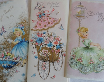 Pink and Sweet Mid Century Cards Girls in Big Dresses Flowers and Wishes in Vintage All Occasion Lot No 278 Total of 9 and 8 are UNUSED