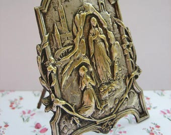 Antique French home altar, Antique French icon, antique religious platelet, French religious souvenir, Antique home altar, Antique relic