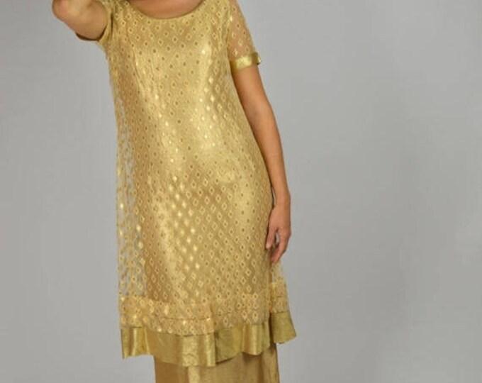sale Vintage 50s Long Dress, Gold Lame Dress, Prom Dress, 50s Long Dress, Gold Dress, Tea Length Dress, Hollywood Glam, 1950s Dresses,