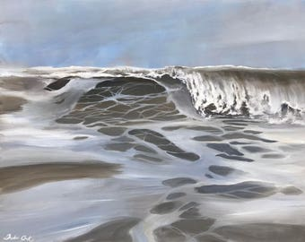 ocean wave painting stretched canvas