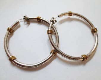 Vintage Silver Large Hoop Earrings Pierced 925 Mexico