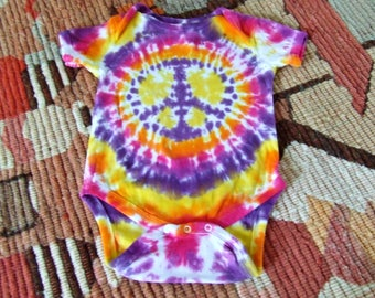 12m Tie Dye Baby Onesie - SangriaPeace Sign - Ready to Ship