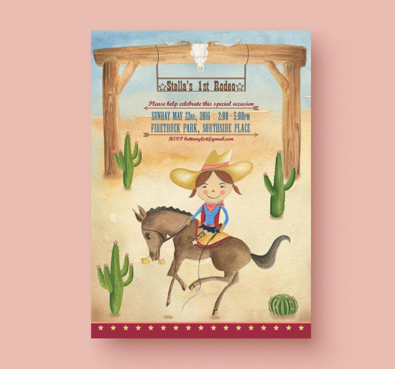 Printable CowGirl Rodeo custom birthday party invitation, vintage ...