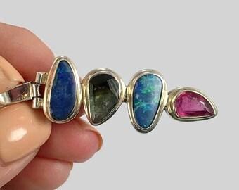 Opal Pendant, Tourmaline, Sterling Silver, Vintage Pendant, Green Quartz, Pink, Blue, Multi Stone, Rainbow, Gemstones, Vintage Jewelry