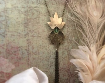 End of Summer SALE Lotus Blossom Necklace with Swarovski crystal and chain tassel  - Copper, Bronze or Sterling