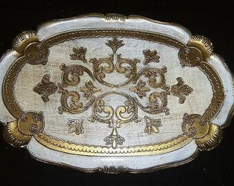Vintage Oval FLORENTINE Wood Gold Gilt and White Toleware Tray 17 1/2 Tray Made in Italy