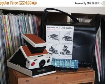 SALE 25% OFF 1970's Polaroid SX-70 Land Camera Model 2 - Film-Tested & Working with New Skin, Polaroid Case, Instructions