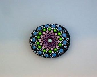 Mandala stones-Bohemian dot art-desktop garden-terrarium-ooak 3D polka dot art-small blue purple amethyst green-dotillism pointillism-Zen