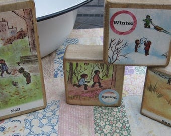 Set of Four Vintage Style Wooden Toy Blocks FOUR SEASONS