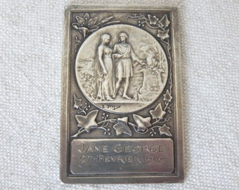 Antique French Sterling Silver Medal Wedding Plaque, Emile Dropsy Silver Plaque, Collectible Medal, Engraved Jane George 27 Fevrier 1919