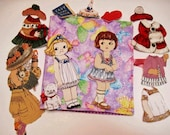 Fabric paper doll travel toy set of 2 dolls with playbook holder and 6 outfits