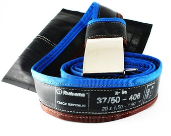INNER TUBE BELT from recycled upcycled vegan punctured bicycle inner tube, navy blue / dark brown + buckle + free bag + asap delivery