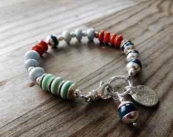 30% OFF CIJ Artisan Jewelry, Multi Colored Gemstone Bracelet, Minimalist, Layering Bracelet, Stacking Bracelet, Rustic Handcrafted, Southwes