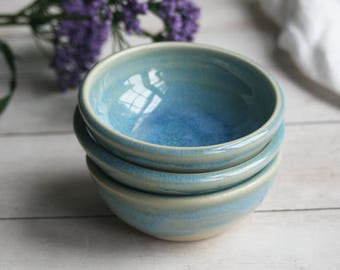 Blue Prep Bowls - Sea Glass Blue Small Kitchen Bowls - Set of Three Small Ceramic Pottery Bowls