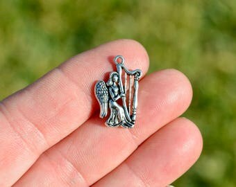 BULK 50  Silver Tone Angel Playing the Harp  Charms SC1216
